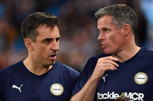 Gary Neville and Jamie Carragher lined up together for the Premier League All-stars XI