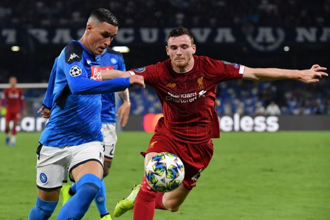 Jose Callejon went down under a challenge from Andrew Robertson to win a penalty