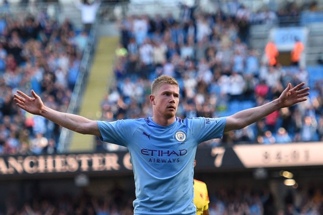 Manchester City's Belgian midfielder Kevin De Bruyne celebrates scoring his team's eighth goal during the English Premier League football match between Manchester City and Watford at the Etihad Stadium in Manchester, north west England, on September 21, 2019. (Photo by Oli SCARFF / AFP) / RESTRICTED TO EDITORIAL USE. No use with unauthorized audio, video, data, fixture lists, club/league logos or 'live' services. Online in-match use limited to 120 images. An additional 40 images may be used in extra time. No video emulation. Social media in-match use limited to 120 images. An additional 40 images may be used in extra time. No use in betting publications, games or single club/league/player publications. / (Photo credit should read OLI SCARFF/AFP/Getty Images)