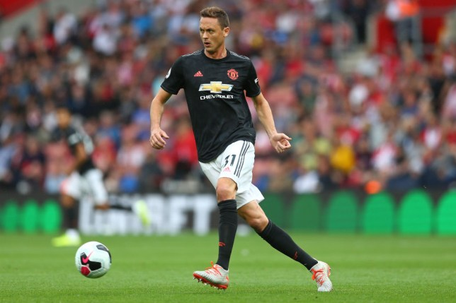 Nemanja Matic passes the ball during Manchester United's game against Southampton