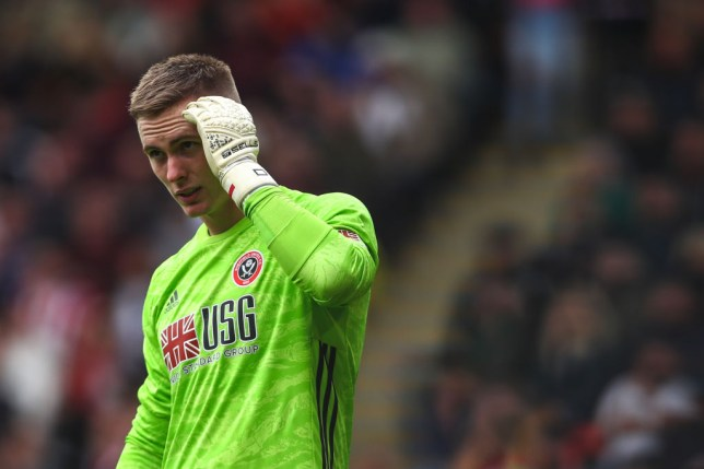 Dean Henderson reacts after his mistake costs Sheffield United a goal against Liverpool