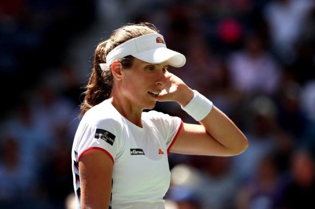 Johanna Konta looks on during the US Open
