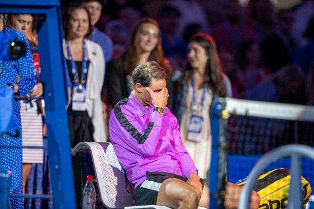 Rafael Nadal teared up at the side of the court