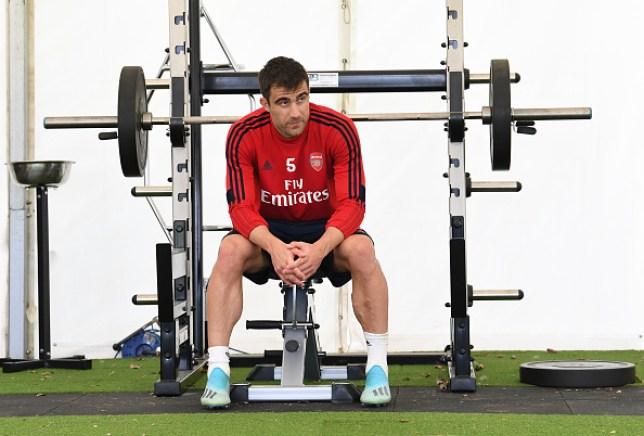 Sokratis Papastathopolous in the gym at Arsenal's London Colney training ground