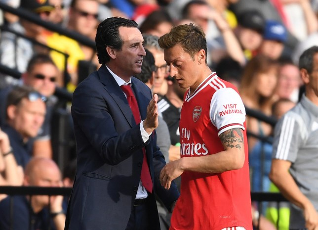Unai Emery has rested Mesut Ozil for Arsenal's Europa League clash with Eintracht Frankfurt
