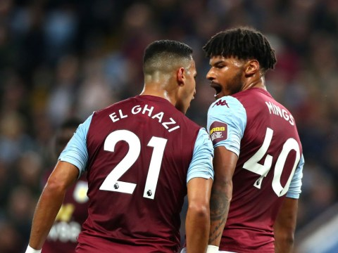 Aston Villa's Anwar El Ghazi aims headbutt at team-mate Tyrone Mings during West Ham clash