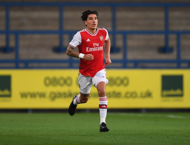 Hector Bellerin runs during Arsenal U23s game against Wolves