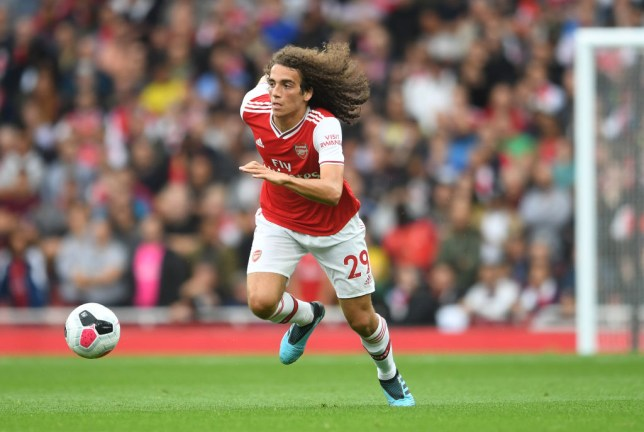 Matteo Guendouzi dribbles with the ball during Arsenal's win over Aston Villa