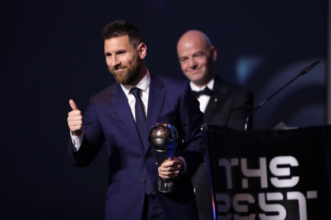 MILAN, ITALY - SEPTEMBER 23: The Best FIFA Men's Player Award Winnrer Lionel Messi of FC Barcelona and Argentina<br /> is seen during The Best FIFA Football Awards 2019 at Teatro alla Scala on September 23, 2019 in Milan, Italy. (Photo by Simon Hofmann - FIFA/FIFA via Getty Images)