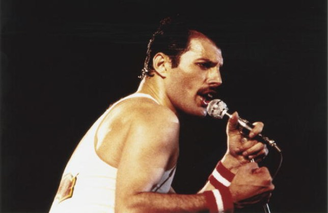 Freddie Mercury on stage with Queen at the Milton Keynes National Bowl