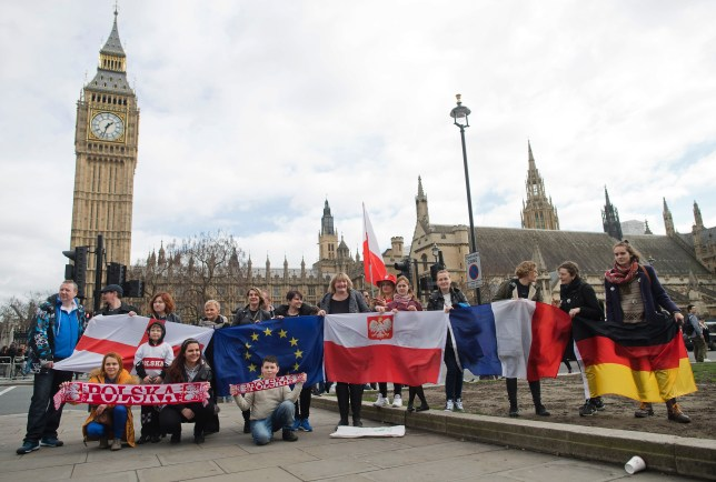 Protesters outside Houses of Parliament, holding flags from countries including England, Poland, France and Germany