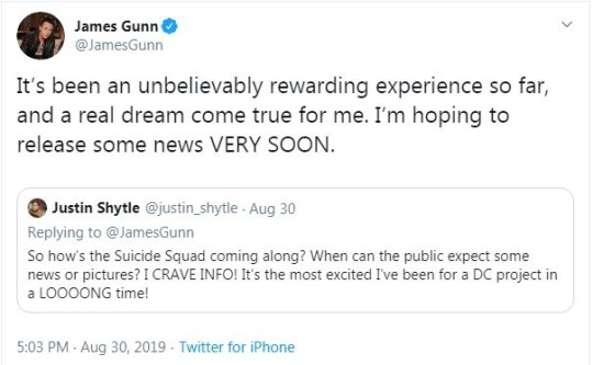 James Gunn hints Suicide Squad 2 news coming 'very soon