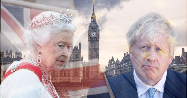 Comp of Queen Elizabeth II, Boris Johnson, a British flag and riverside view of Houses of Parliament