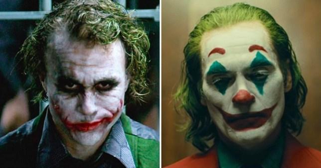 Heath Ledger as the Joker and Joaquin Phoenix as the Joker