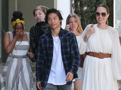 Angelina Jolie is loving life as she treats Pax, Zahara and Shiloh to lunch over Labour Day weekend