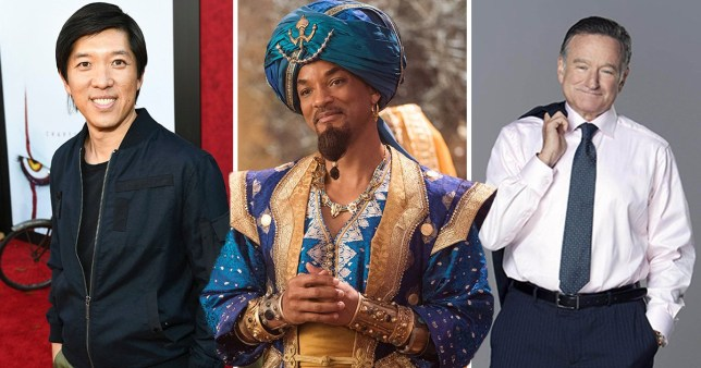 Dan Lin, Will Smith as Genie, Robin Williams