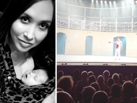Myleene Klass's baby son Apollo gets a dose of culture during first visit to the ballet at one month old