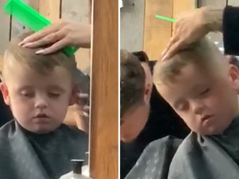 Dad films moment son falls asleep and nearly falls off chair during haircut