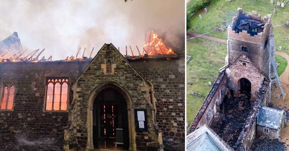The fire gutted the medieval Norfolk church
