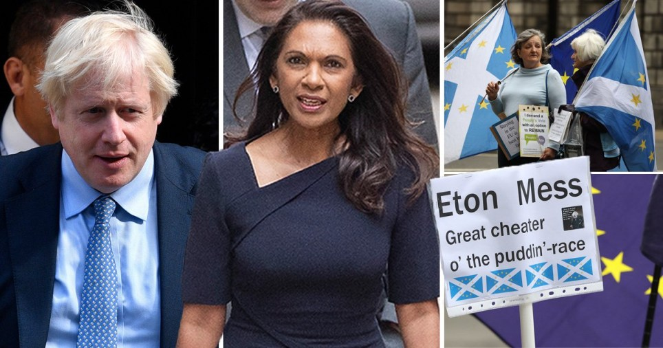 Compilation featuring Boris Johnson, Gina Miller and pro-EU protesters in Scotland