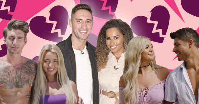 Love Island picture showing Harley and Chris, Amber and Greg and Belle and Anton