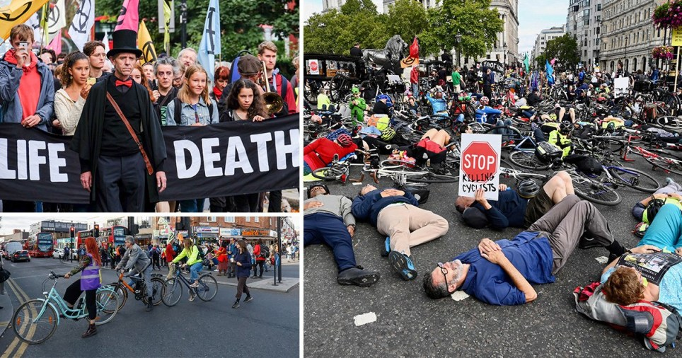 Cyclists staging 'die-in' protest in Central London