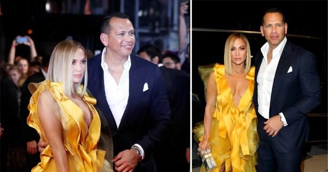 Jennifer Lopez and Alex Rodriguez attend the Hustlers premiere at TIFF