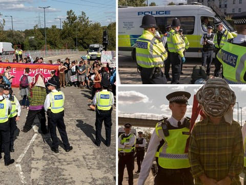 Protesters in London blockade one of world's largest weapons fairs