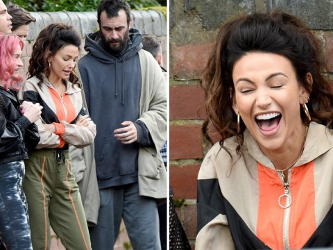 Michelle Keegan has a laugh on set of Brassic series 2 as filming kicks off