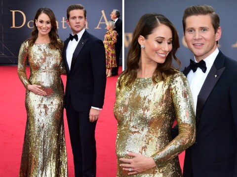Allen Leech and wife Jessica cradle baby bump as they use Downton Abbey premiere to reveal pregnancy news