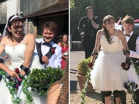 Bride paralysed in car crash surprises guests by walking down the aisle in exoskeleton