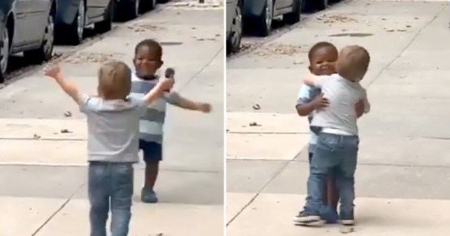 Cute video of best friends running to hug in the street