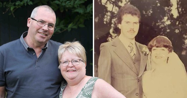 Picture of the couple now and when they married, 40 years ago