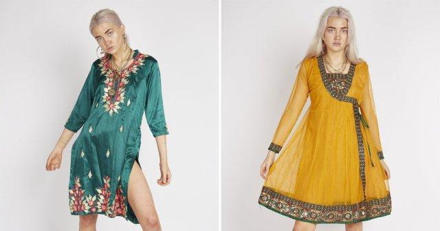White women modelling south Asian salwar kameez