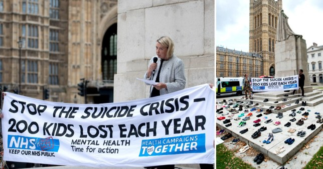 World Suicide Prevention Day demonstration at Parliament Square on September 10, 2019