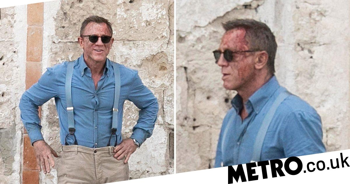 James Bond gets bloody as Daniel Craig seen on No Time To Die set