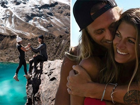 Influencer couple criticised for 'dangerous' Instagram picture hanging off a cliff in Peru