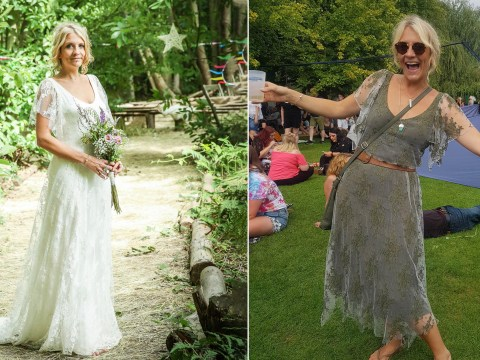 Woman chops her wedding dress and dyes it green so she can wear it all the time