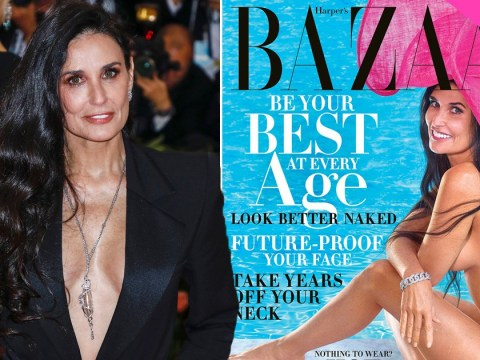 Demi Moore poses naked for stunning Harper's Bazaar cover – 28 years after doing so for Vanity Fair