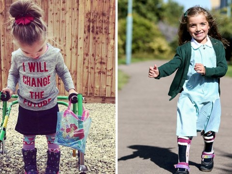 Moving moment girl with cerebral palsy walks into school on first day