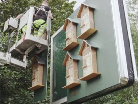 McDonald's creates billboards with tiny 'bee hotels' to save the colonies