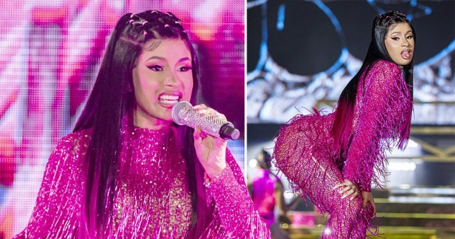 Cardi B puts on a show in purple beaded jumpsuit as she headlines Music Midtown festival in Atlanta