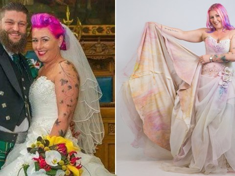 Woman wears old wedding dress through 3k charity run where people throw paint