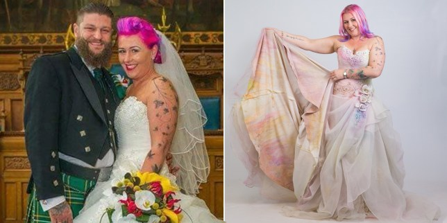 Woman Wears Old Wedding Dress During 3k Charity Colour Run Metro News,African Lace Wedding Guest Dresses