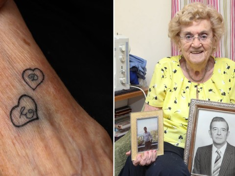 Widow gets first tattoo aged 94 showing her husband and late son's initials