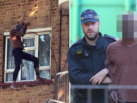 Man jumps from balcony and escapes down cable wire after police raid his home