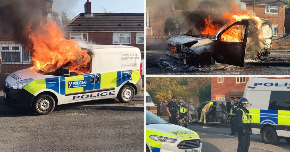 Police van 'set on fire and officers pelted with bricks' during riot