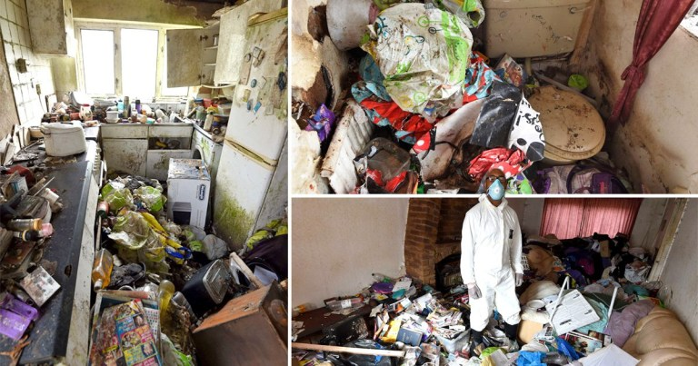 Composition image of a hoarder's home