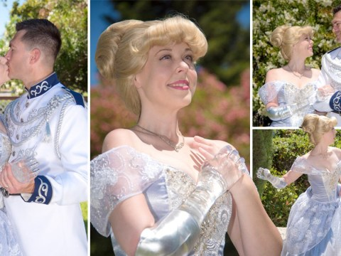 Woman dresses as Cinderella with a glass arm to show kids it's ok to be different