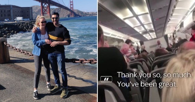 Stephanie Kaye, with partner Anouj Patel, said Thomas Cook cabin crew learned they were being made redundant during a flight to Manchester